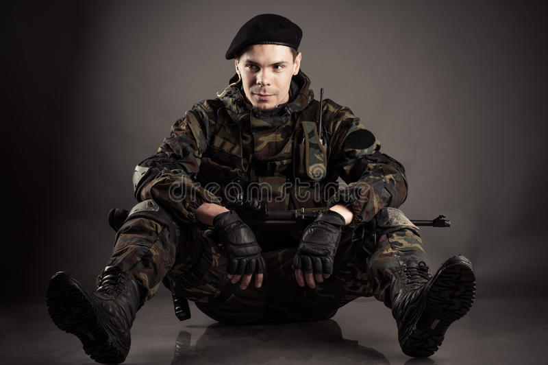 Militairen het rusten royalty-vrije stock afbeelding