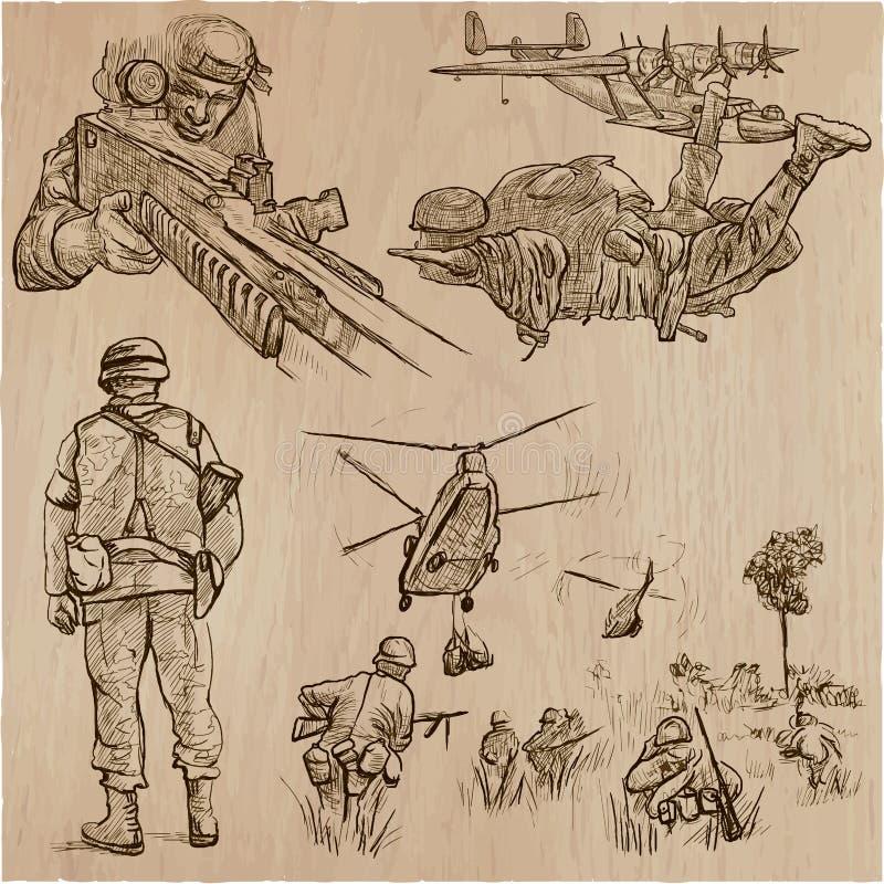 Militairen, Leger - een hand getrokken vectorinzameling Strijders aroun royalty-vrije illustratie