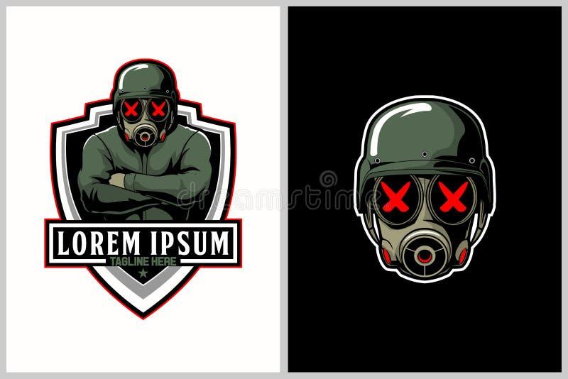 Militairen met de vector van het gasmaskerbeeldverhaal voor e-sport embleemmalplaatje stock illustratie
