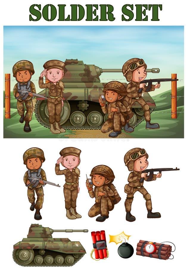 Militairen met kanon op het gebied vector illustratie
