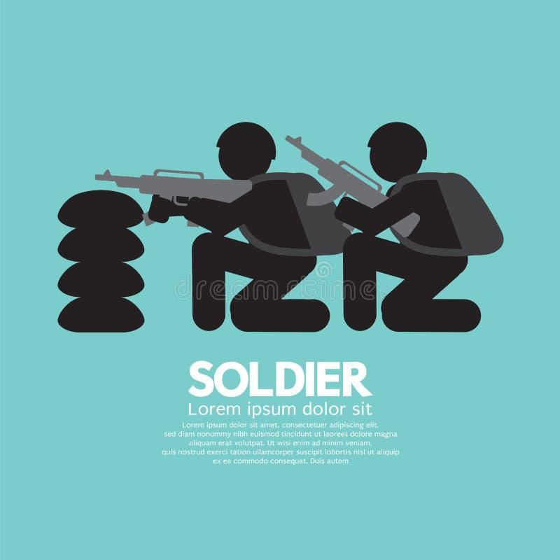 Militairen met Kanonnen en Bunker stock illustratie
