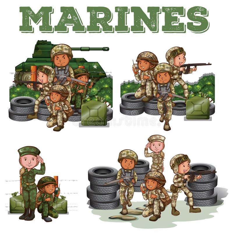 Militairen met kanonnen het vechten royalty-vrije illustratie