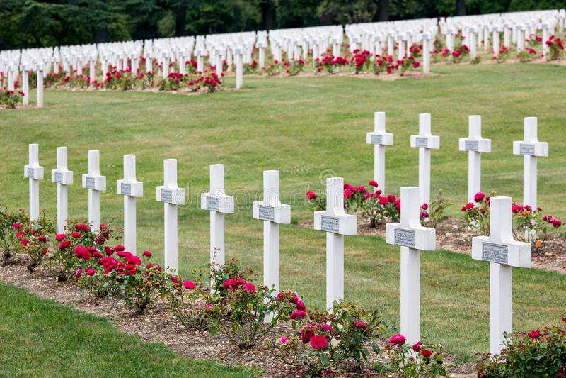 Militairen van de begraafplaats stierven de Eerste Wereldoorlog bij Slag van Verdun, Fran stock afbeelding