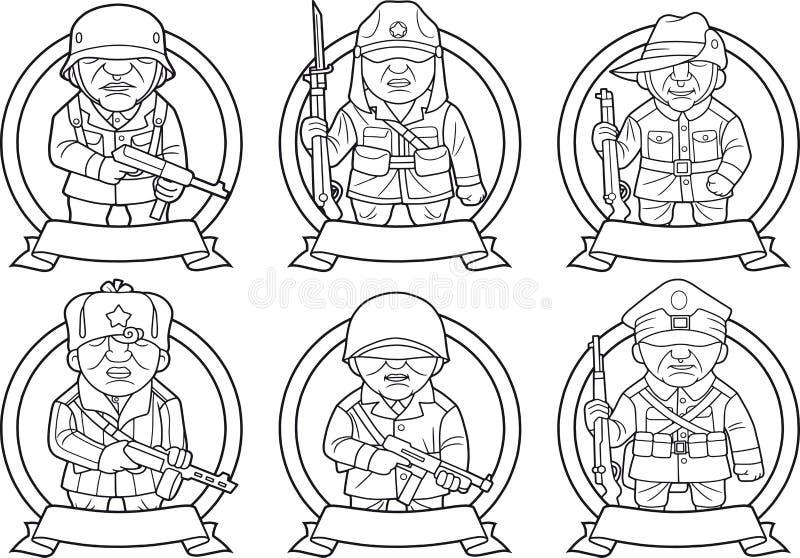 Militairen van de Tweede Wereldoorlog royalty-vrije illustratie
