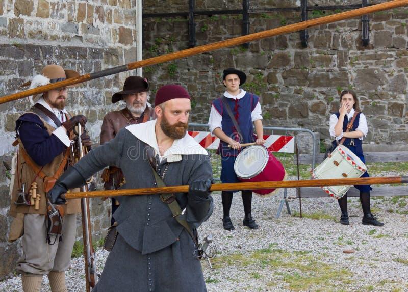 Militairen van het Venetiaanse Leger bij de Zeventiende Eeuw Histori stock afbeeldingen