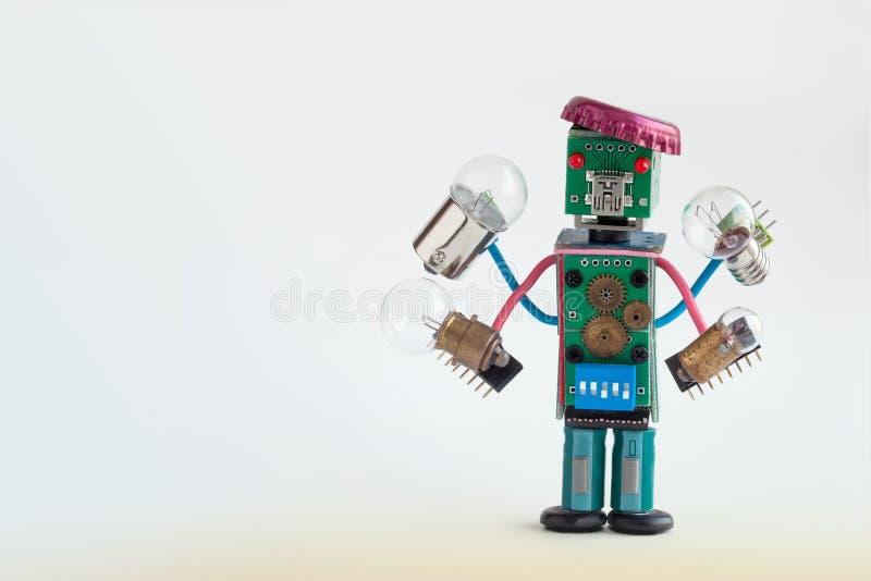 Militairilluminator met gloeilampen in vier handen Het kleurrijke robotachtige karakter houdt verschillende retro lampen Grappige vector illustratie