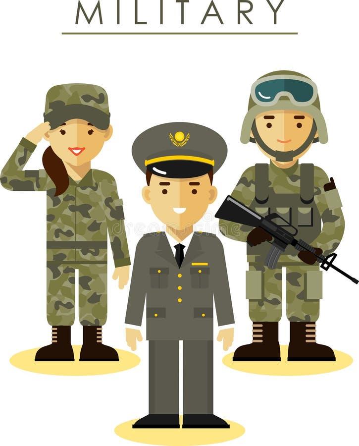 Militairman en vrouw in verschillende militair stock illustratie