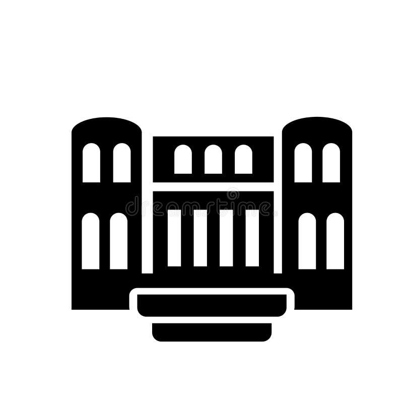 Militar antik byggande symbol  stock illustrationer