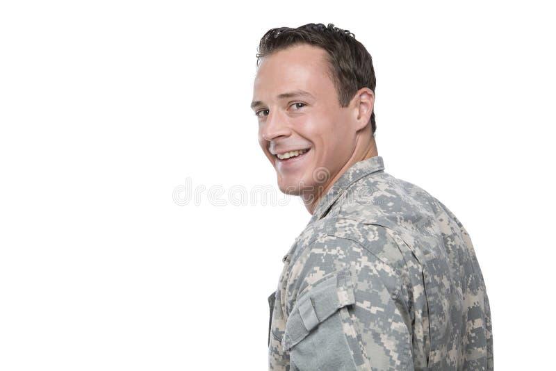 Militar caucásico sonriente imagen de archivo
