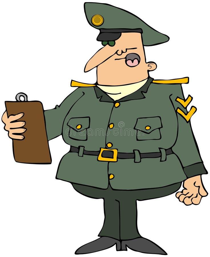 Militar com uma prancheta ilustração stock