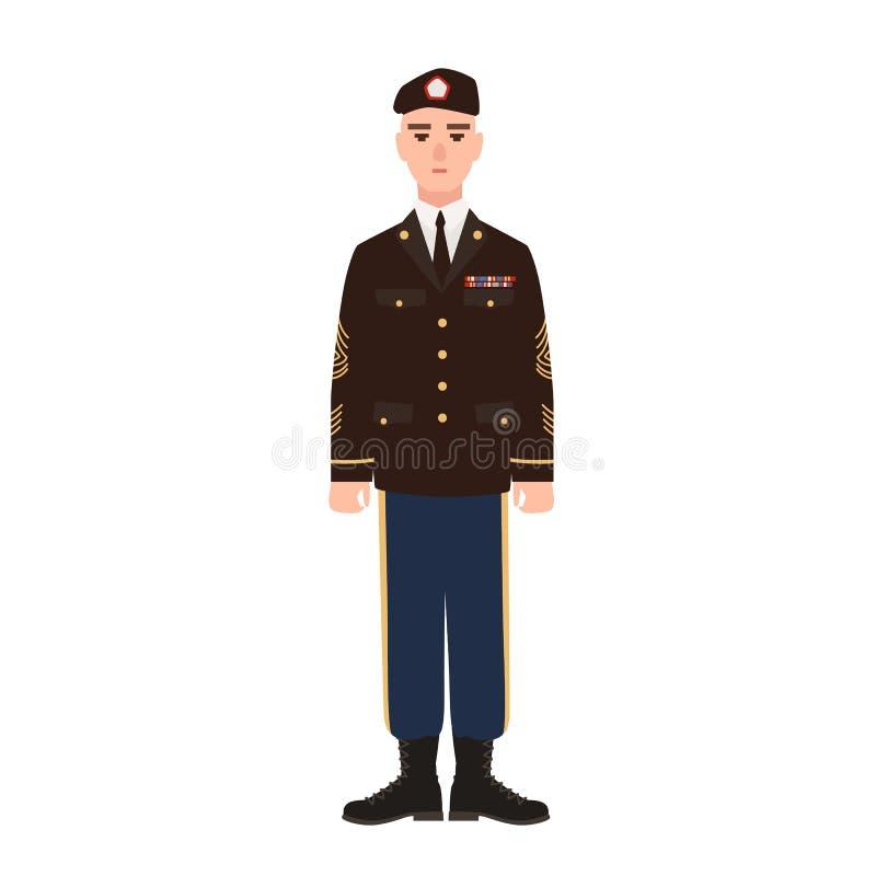 Militar de força armada dos EUA que veste o uniforme e a boina de vestido completo Soldado americano, recruta ou soldado de infan ilustração royalty free
