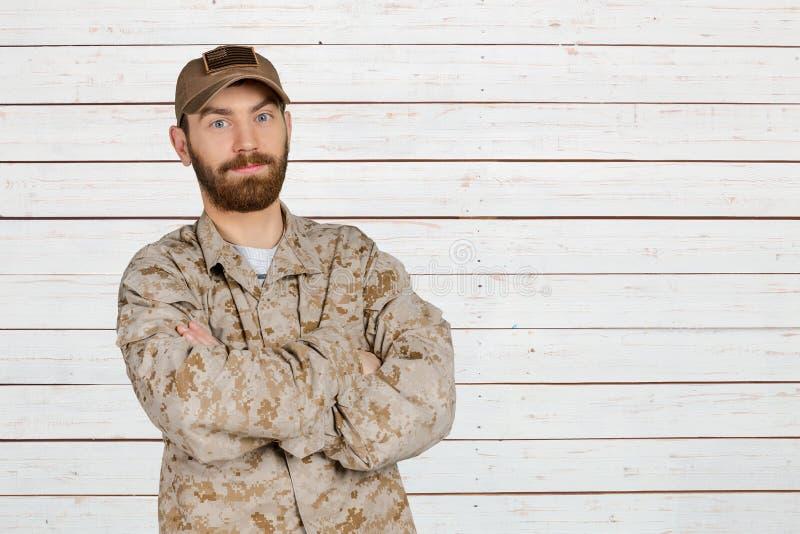 Militar de sorriso foto de stock royalty free
