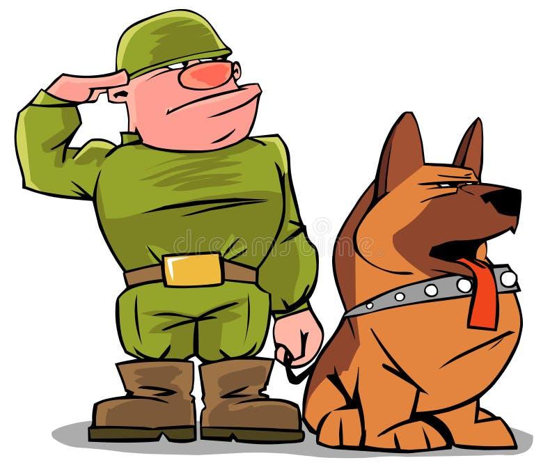 Militar engraçado com um cão ilustração do vetor