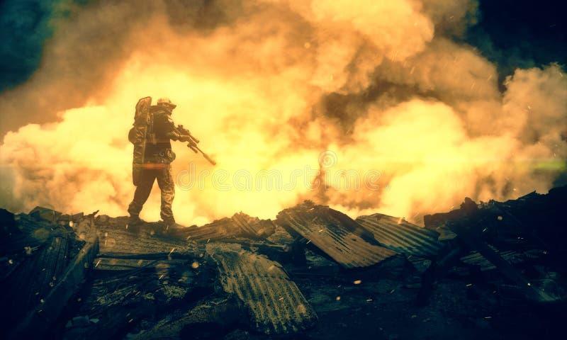 Militar entre o fogo e o fumo na casa destruída foto de stock