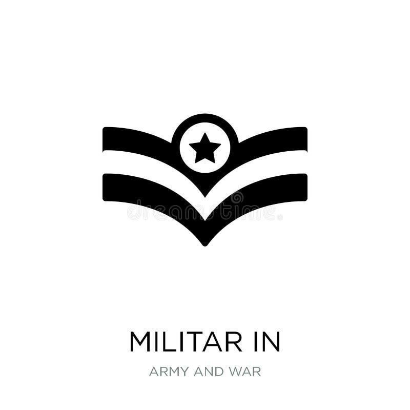 militar i symbol i moderiktig designstil militar i symbolen som isoleras på vit bakgrund militar i den modern vektorsymbolen som  vektor illustrationer