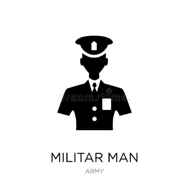 militar man med skyddssymbolen i moderiktig designstil militar man med skyddssymbolen som isoleras på vit bakgrund Militar royaltyfri illustrationer