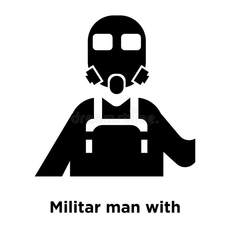 Militar man med skyddssymbolsvektorn som isoleras på vit backgr royaltyfri illustrationer