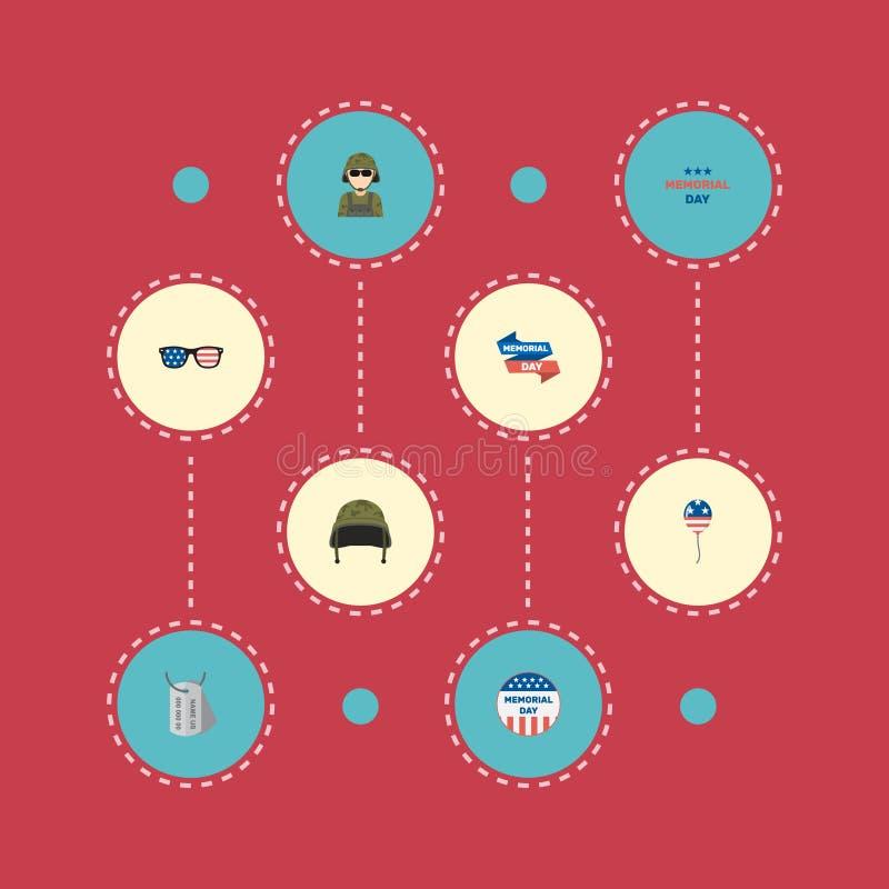 Militar plano de los iconos, insignia de los E.E.U.U., día de fiesta y otros elementos del vector El sistema de símbolos planos c libre illustration