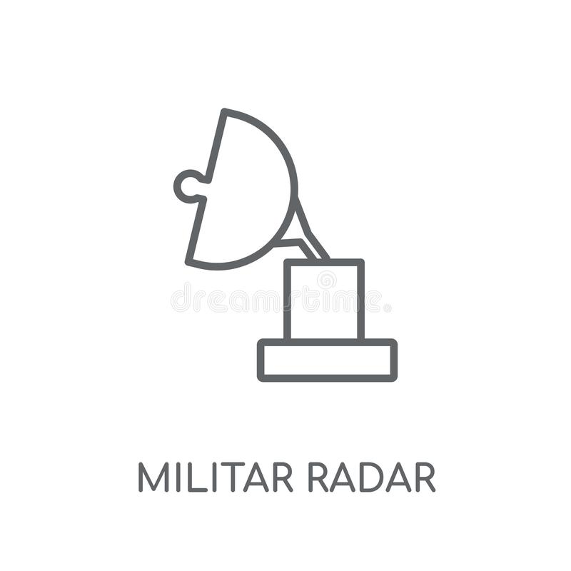 Militar Radar linear icon. Modern outline Militar Radar logo con. Cept on white background from army and war collection. Suitable for use on web apps, mobile vector illustration
