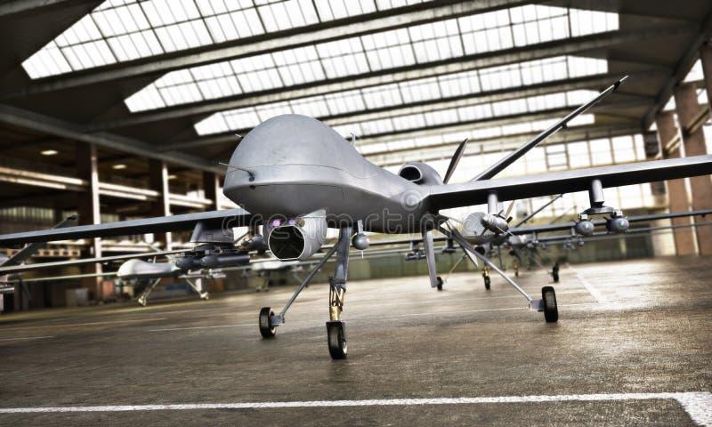 ` Militar s de los aviones del UAV del abejón con la ordenanza en la posición en un hangar que aguarda una misión de la huelga imagen de archivo libre de regalías