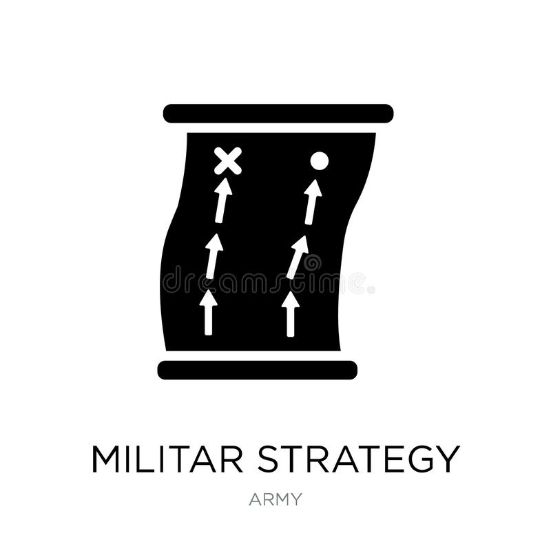 militar strategisymbol i moderiktig designstil militar strategisymbol som isoleras på vit bakgrund militar strategivektorsymbol vektor illustrationer