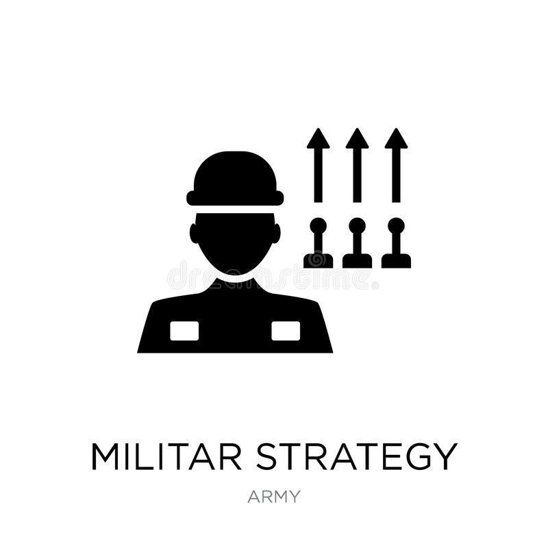 Militar strategy icon in trendy design style. militar strategy icon isolated on white background. militar strategy vector icon. Simple and modern flat symbol royalty free illustration