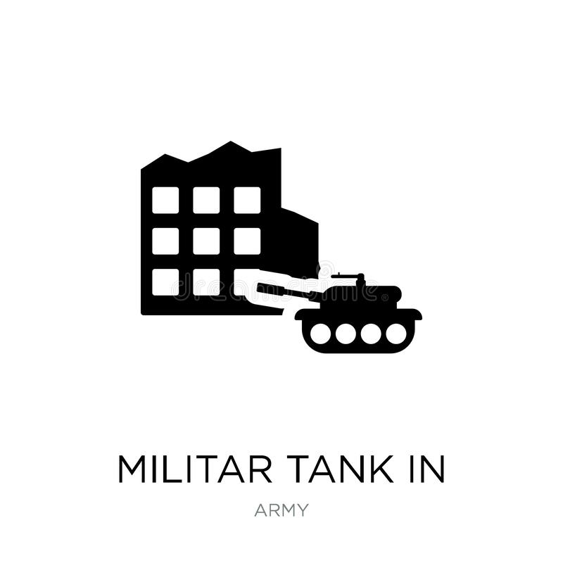 militar tank in het pictogram van de stadsstraat in in ontwerpstijl militar die tank in het pictogram van de stadsstraat op witte stock illustratie