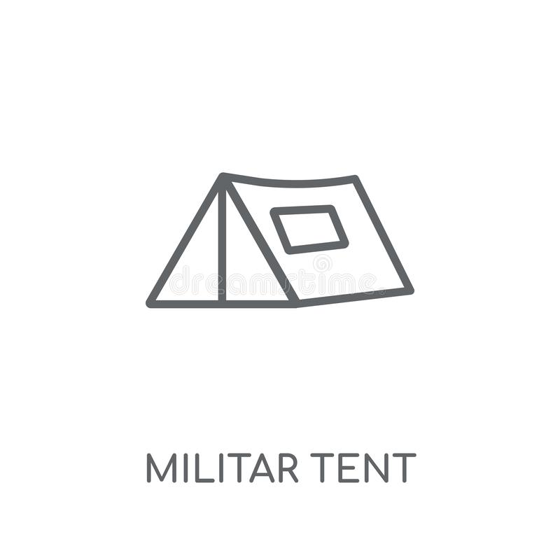 Militar Tent linear icon. Modern outline Militar Tent logo conce. Pt on white background from army and war collection. Suitable for use on web apps, mobile apps vector illustration