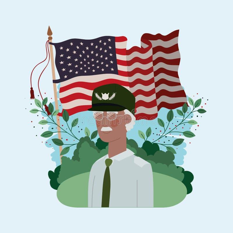Militare del veterano di afro con la bandiera degli S.U.A. nel campo illustrazione di stock