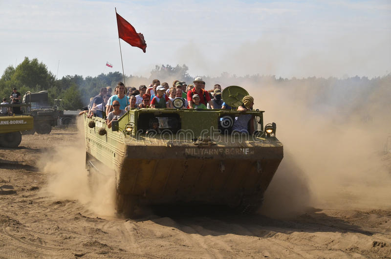 Militaria funs at the International Gathering of Military Vehicles in Borne Sulinowo, Poland. The event is held every year in the military area in Borne Sulinowo stock photo