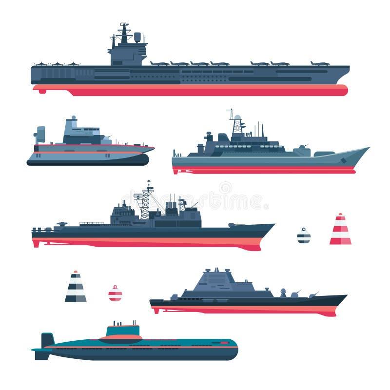 Militaristic ships icons vector illustration