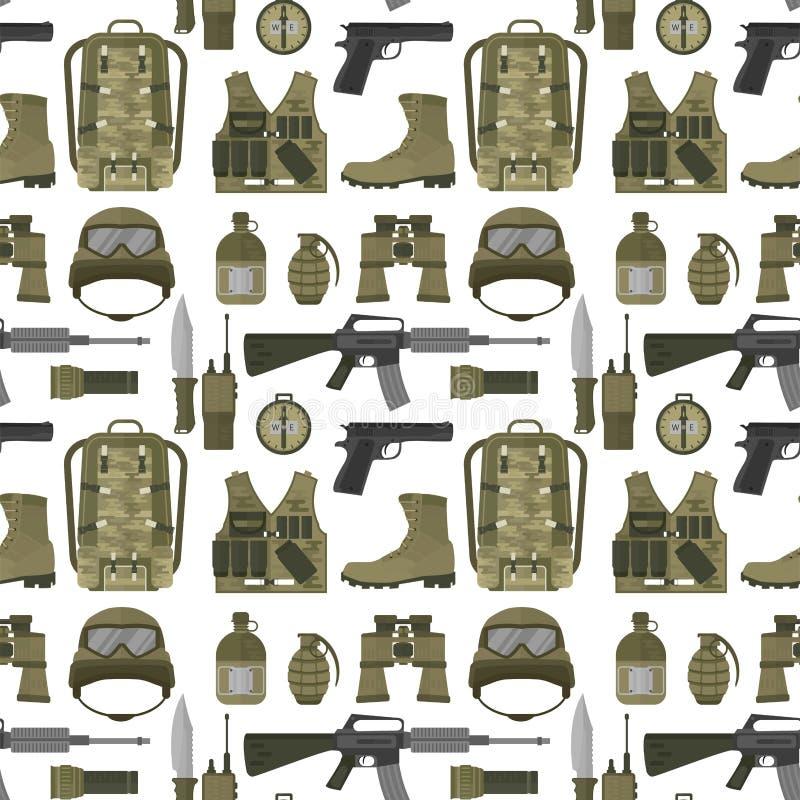 Militarna broń strzela opancerzenie sił amerykańskiego myśliwskiego amunicyjnego kamuflażu tła wektoru bezszwową deseniową ilustr royalty ilustracja