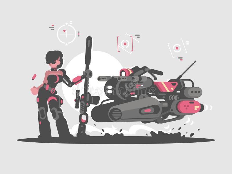 Militarna dziewczyna z snajperskim karabinem ilustracji