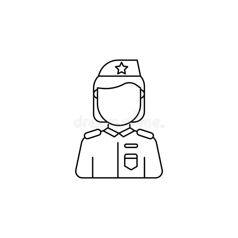 Militarna kobiety avatar ikona royalty ilustracja