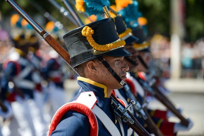 militarna obywatelska parada świętuje niezależność Brazylia fotografia stock