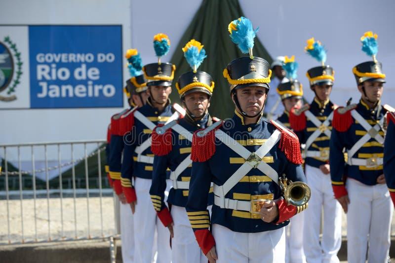 militarna obywatelska parada świętuje niezależność Brazylia zdjęcie stock