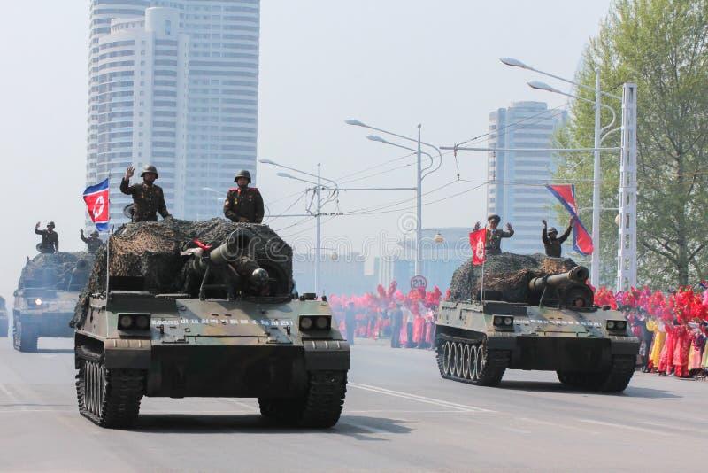Militarna parada w Północnym Korea obraz royalty free