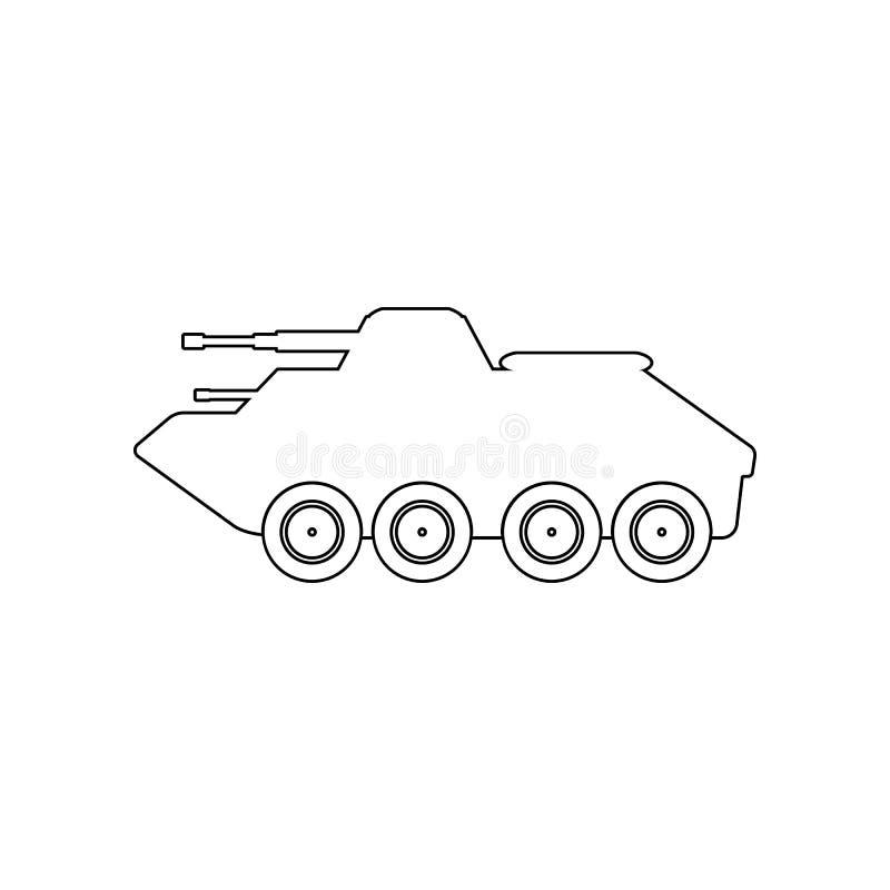 militarna pojazd pancerny ikona Element Rosja dla mobilnego poj?cia i sieci apps ikony Kontur, cienka kreskowa ikona dla strona i royalty ilustracja