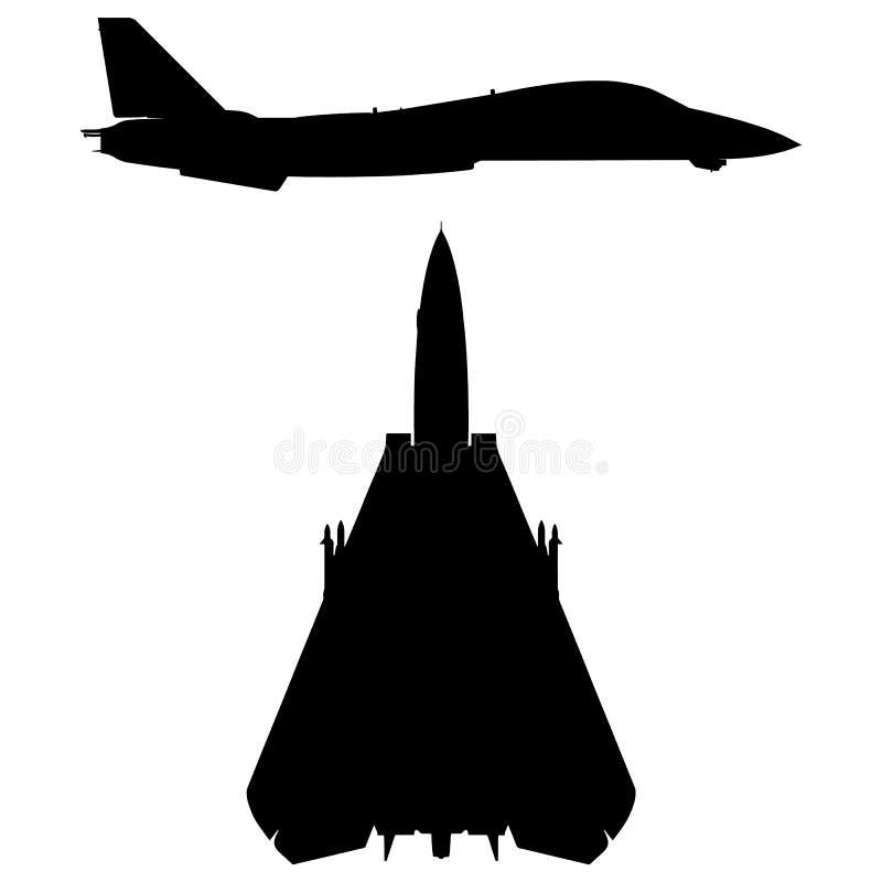 Militarna skrzydło myśliwa samolotu sylwetka ilustracja wektor