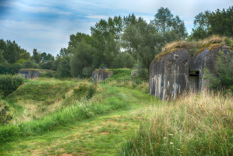 Militarne fortyfikacje podczas Drugi wojny światowa obraz royalty free