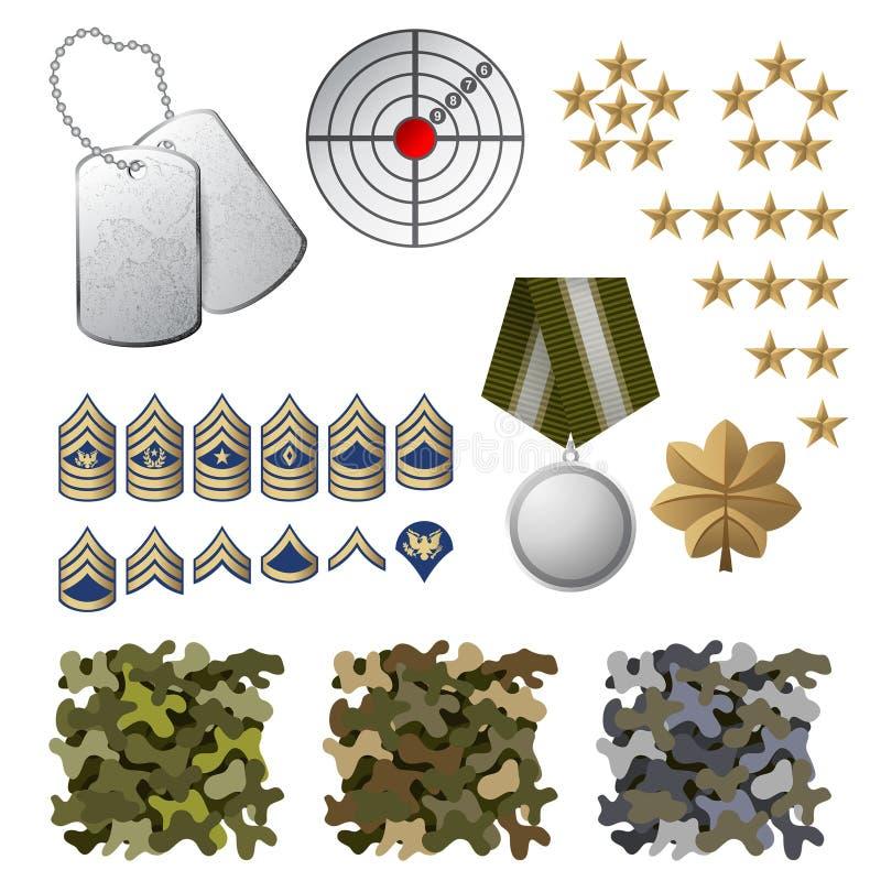 Militarne ikony ilustracji