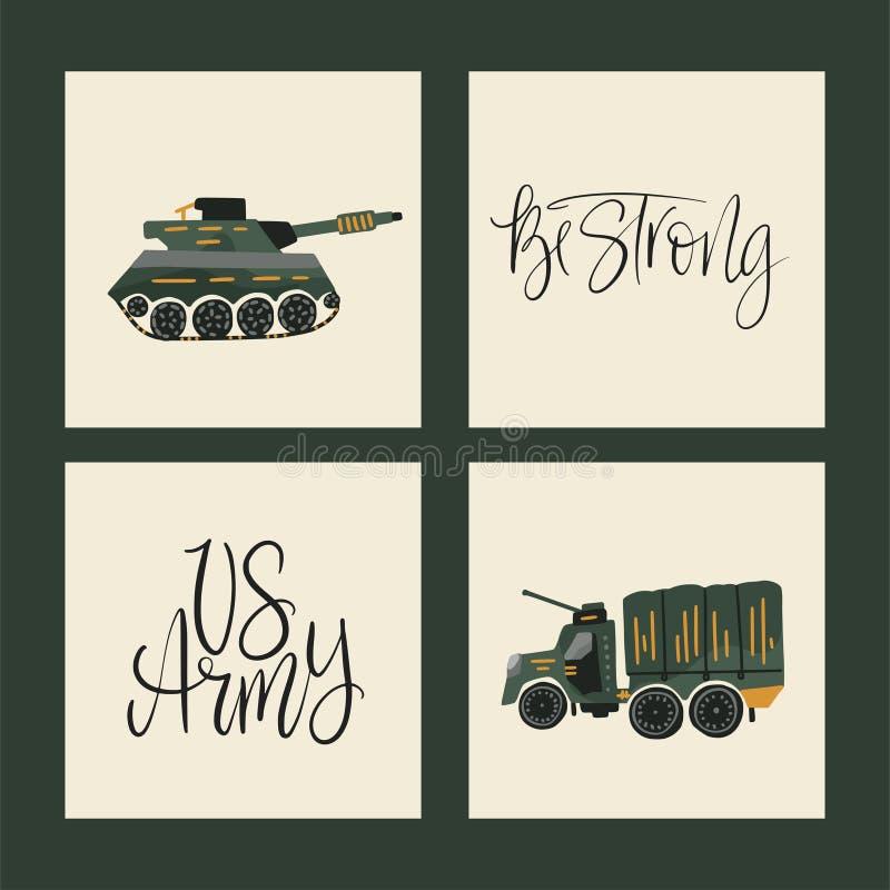 Militarne wektorowe ilustracje Wojsko karty z płaskimi ilustracjami wojna transport ilustracji