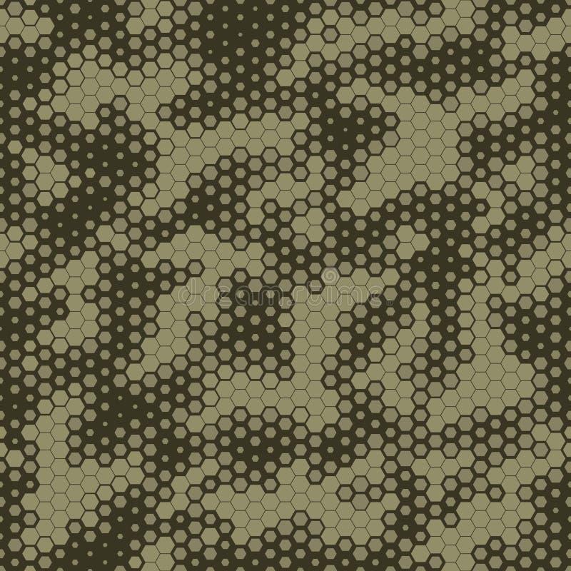 Militarnego kamuflażu Bezszwowy wzór, Heksagonalny siatki tło royalty ilustracja