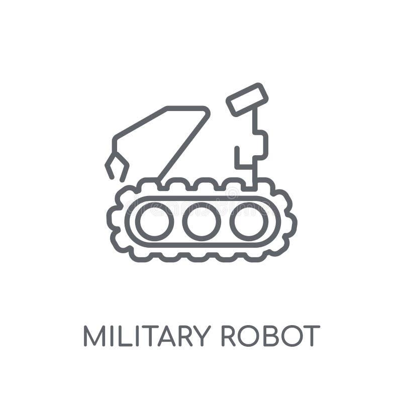 Militarnego robota maszynowa liniowa ikona Nowożytny konturu wojskowego robo royalty ilustracja