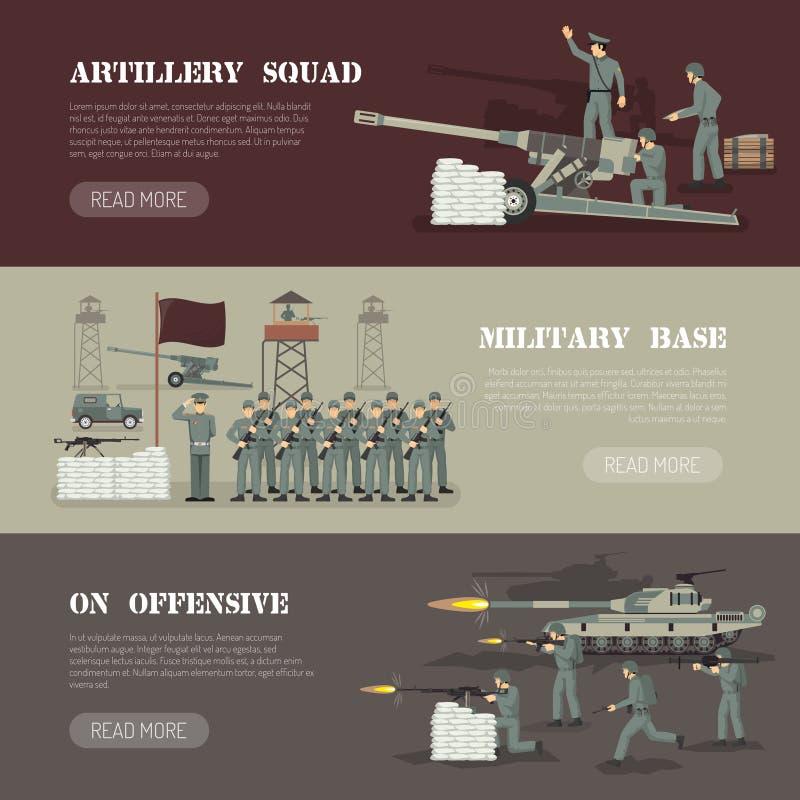 Militarnego wojska Horyzontalni sztandary Ustawiający royalty ilustracja