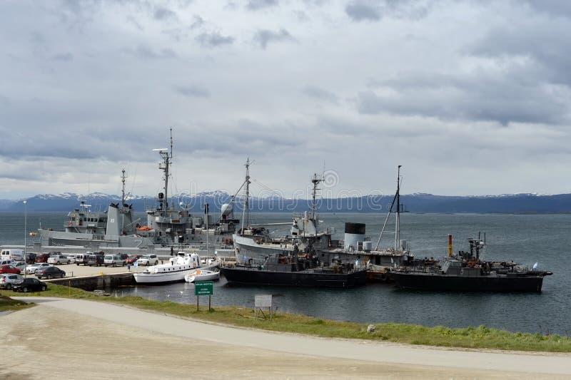 Militarnej bazy marynarka wojenna Argentyna w Ushuaia obraz stock