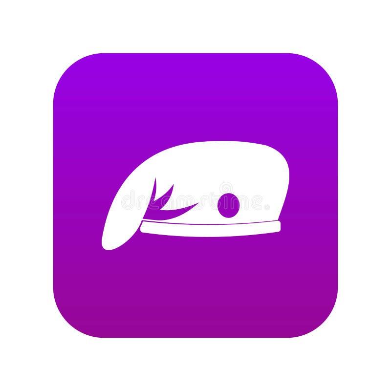 Militarnej nakrętki ikony cyfrowe purpury ilustracji