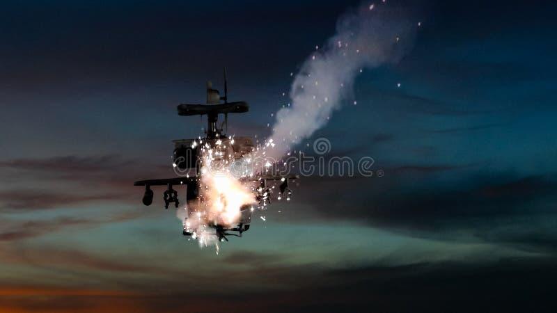 Militarni śmigłowowie szturmowi uderza pociskiem i wybuchać royalty ilustracja