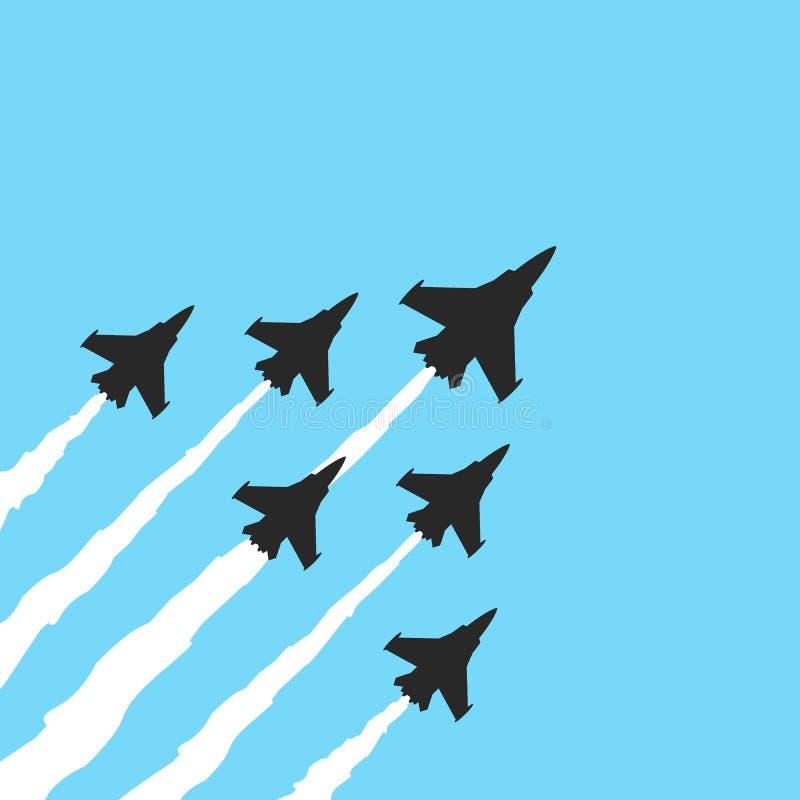 Militarni myśliwowie na błękitnym tle Wektorowy samolotowy przedstawienie sztandar ilustracja wektor
