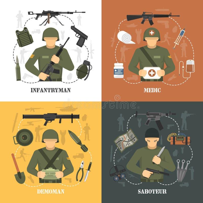 Militarni 4 wojska ikon płaski kwadrat royalty ilustracja